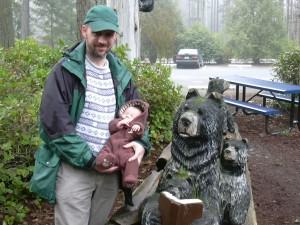 Ryan introduces Xander Bear to the library bears.