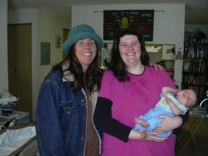 Sleepy Xander with his Momma and Aunt Lauren