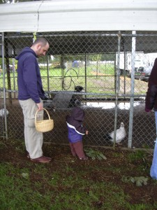 Ryan and Xander checking out the Muscovy ducks.